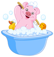 Pig taking a bath vector