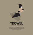 Hand holding a trowel vector