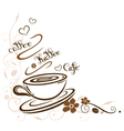 Coffee cafe border floral vector