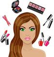 Beautiful woman and various cosmetics vector