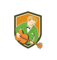 Musician guitarist playing guitar shield cartoon vector