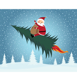 Santa claus riding christmas tree vector