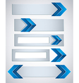 3d banners finished with blue arrows vector