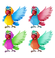 Four adorable parrots vector
