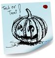Halloween pumpkin sketch on sticky paper vector