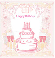 Happy birthday card with birthday cake vector