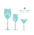 Soft peacock feathers three wine glasses vector