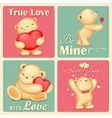 Teddy bear in retro love background vector