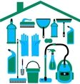 House set in blue colors vector