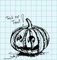 Halloween pumpkin sketch on graph paper vector