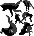 Jiu-jitsu and judo silhouettes vector