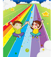 A young girl and a young boy at the colorful road vector