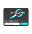 Keyword search form with dark background and blue vector