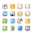 Simple business and mobile phone icons vector