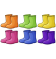 A group of colorful boots vector