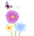 Greeting card with colorful butterflies and vector