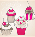 Sweet cute cakes vector