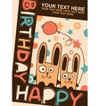 Happy birthday card with rabbits vector