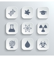 Science icons set - white app buttons vector
