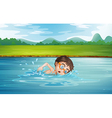 A young man swimming vector