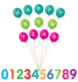 Happy new year and numbers set vector