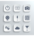Multimedia icons set - white app buttons vector