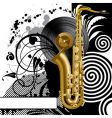 Black background with a saxophone vector