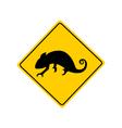 Chameleon warning sign vector