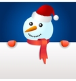 Smiling snowman holding blank page vector