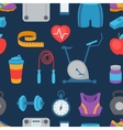 Sports seamless pattern with fitness icons in flat vector