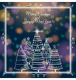 Blue brightness background with christmas trees vector
