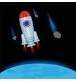 Rocket in open cosmos vector