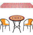 Table chairs and awning vector