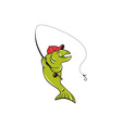 Trout fly fishing rod hook cartoon vector
