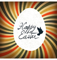 Easter card rays retro calligraphy vector