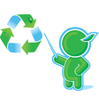 Green hero with recycle symbol vector