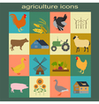Set agriculture animal husbandry icons vector