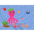 Funny octopus and underwater marine life vector