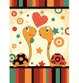 Romantic love turtle vector