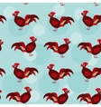 Seamless pattern with funny cute rooster bird on a vector