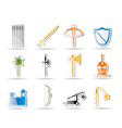 Simple medieval arms and objects icons vector