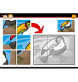Cartoon toucan jigsaw puzzle game vector
