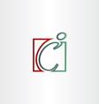 Letter c man line icon vector