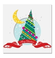 Card with christmas tree and crescent moon vector