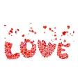 Inscription love of heart shapes vector