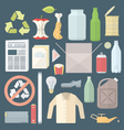 Color flat style separated waste icons and signs vector