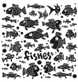 Fishes - doodles set vector