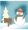 Christmas greeting card with funny snowman vector