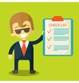 Happy businessman with checklist all items are vector