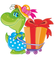Dinosaur with shopping vector